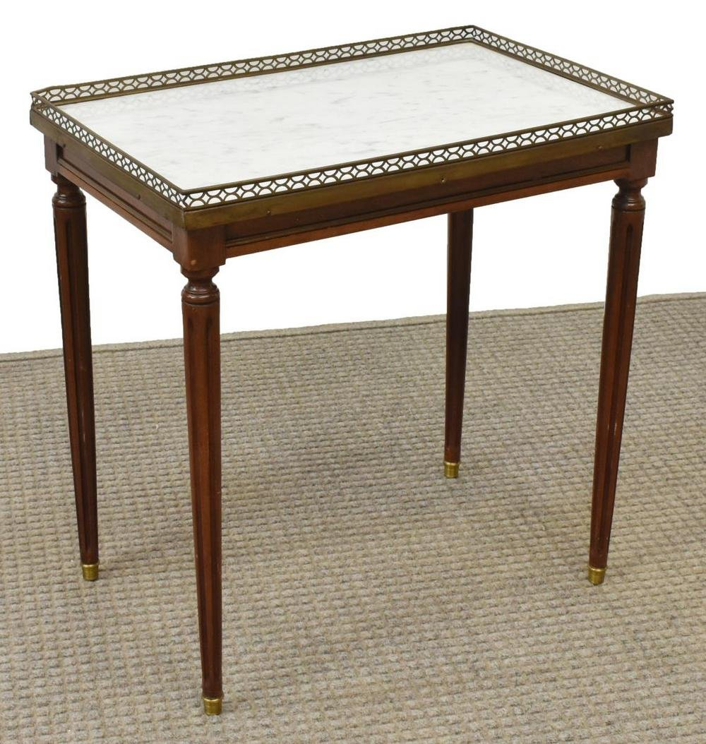 LOUIS XVI STYLE MARBLE-TOP MAHOGANY SIDE TABLE