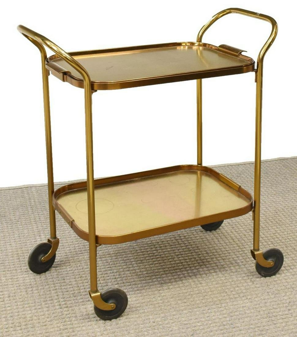 MID-CENTURY MODERN TRAY-TOP SERVICE BAR CART