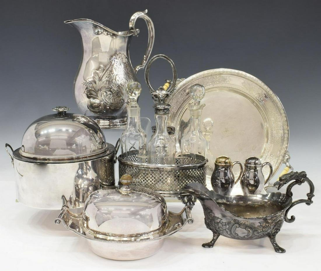 (8) COLLECTION VINTAGE SILVER PLATE TABLE ITEMS