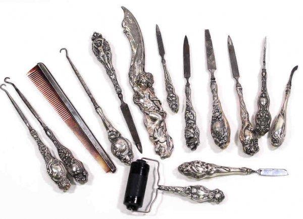 286: AMERICAN ART NOUVEAU STERLING DRESSER ARTICLES