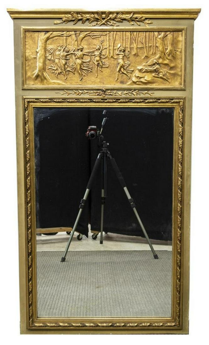 NEOCLASSICAL STYLE GILTWOOD TRUMEAU MIRROR