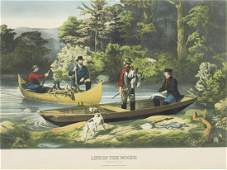 LIFE IN THE WOODS RETURNING TO CAMP LITHOGRAPH