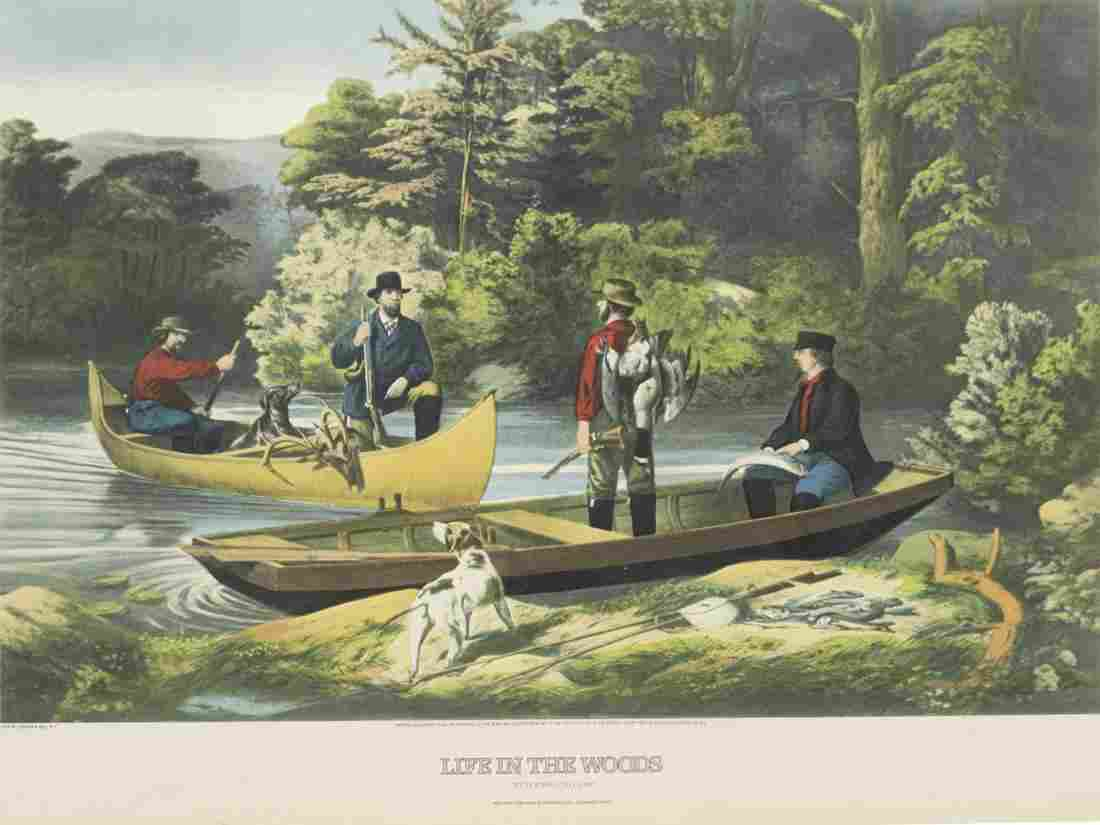 'LIFE IN THE WOODS, RETURNING TO CAMP' LITHOGRAPH