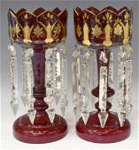 (2) VICTORIAN PARCEL GILT RUBY RED MANTEL LUSTERS