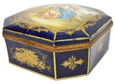 LARGE FRENCH SEVRES STYLE PORCELAIN DRESSER BOX