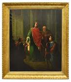 LARGE PAINTING JUDGMENT OF KING SOLOMON, 19TH C.
