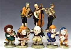 (8) ITALIAN CAPODIMONTE PORCELAIN MUSICIAN FIGURES