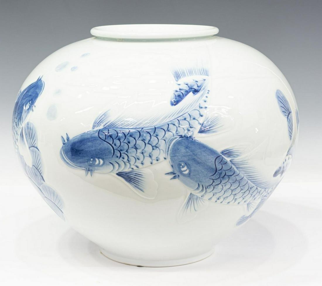LARGE ASIAN BLUE & WHITE KOI FISH DECORATED POT