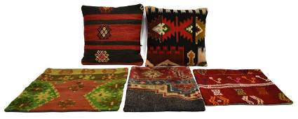 (5) COLLECTION OF KILIM RUG PILLOWS & COVERS