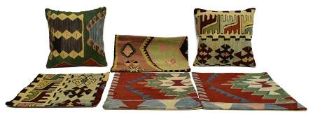 (6) COLLECTION OF KILIM RUG PILLOWS & COVERS