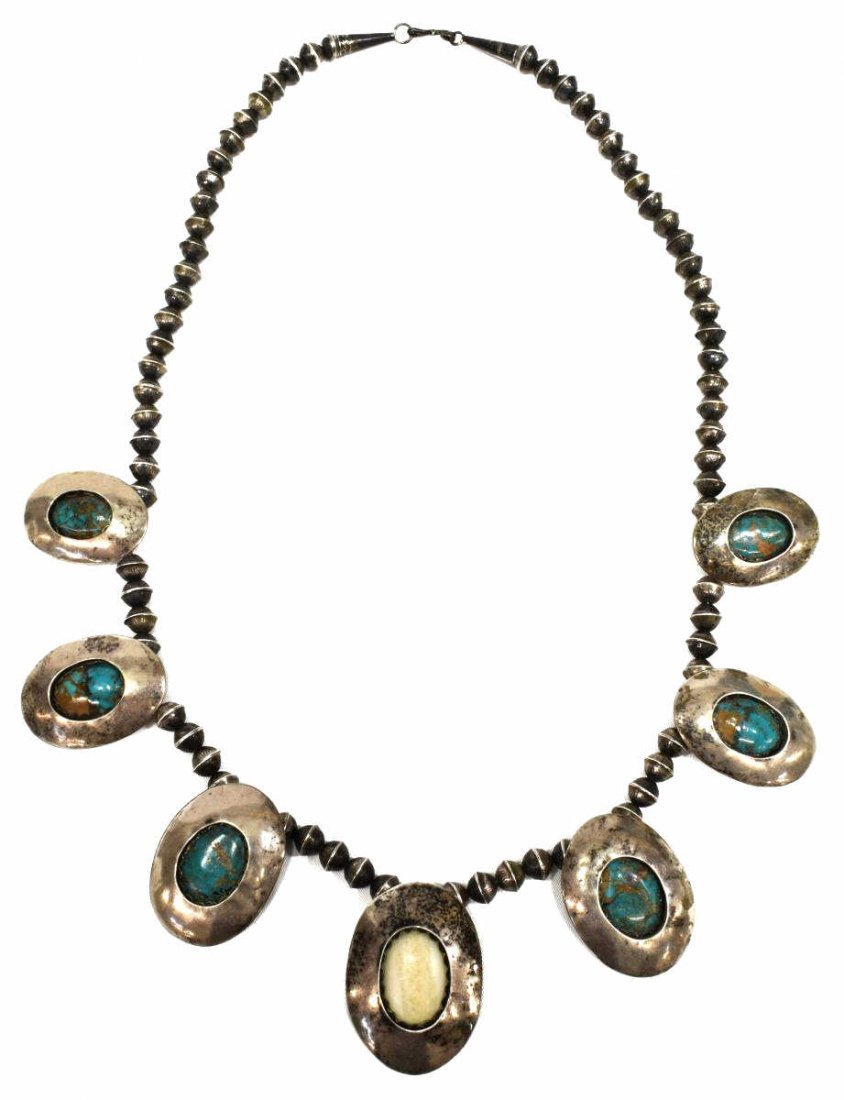 NATIVE AMERICAN SILVER & TURQUOISE BEADED NECKLACE