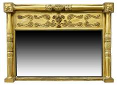 EMPIRE STYLE GILTWOOD OVER-MANTEL MIRROR
