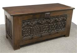 FRENCH GOTHIC REVIVAL TRACERY CARVED OAK TRUNK