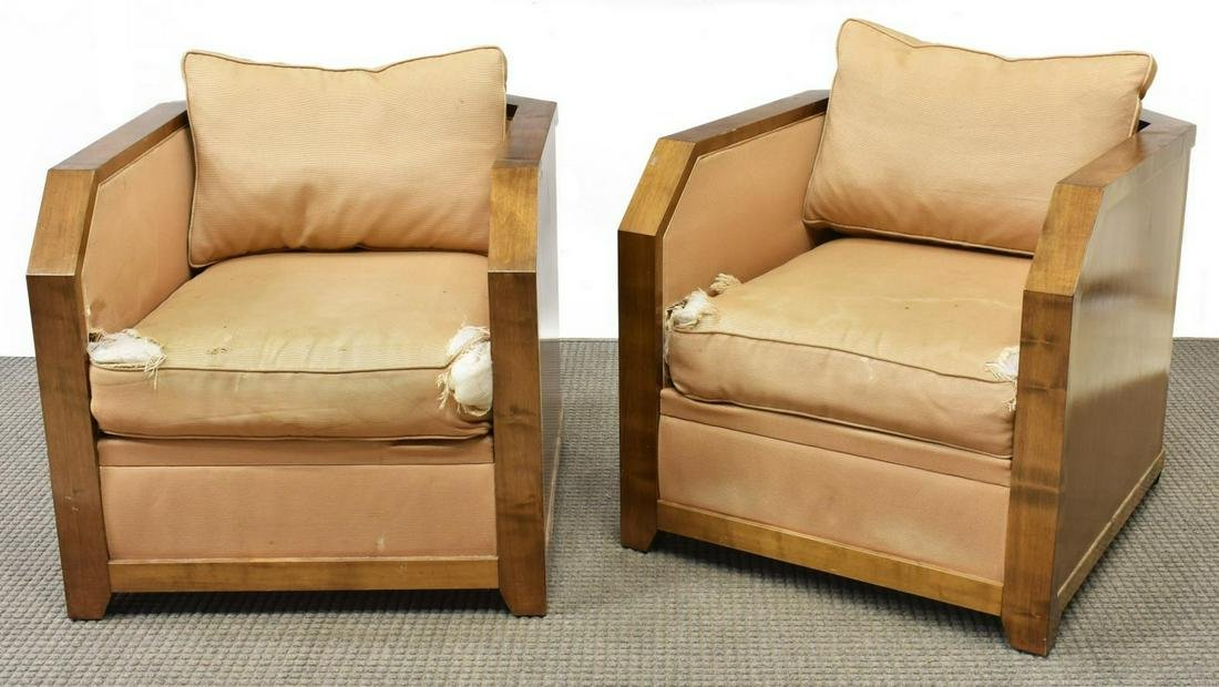(2) HUGUES CHEVALIER ART DECO STYLE CLUB CHAIRS
