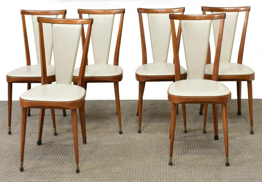 (6) FRENCH MID-CENTURY MODERN DINING CHAIRS