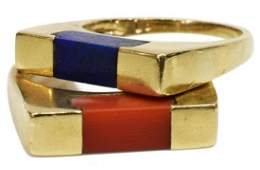 2 ESTATE 14K YELLOW GOLD RED CORAL  LAPIS RINGS
