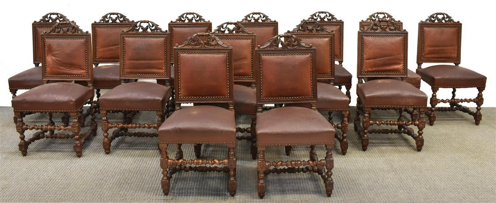 14) FRENCH HENRI II STYLE CARVED OAK DINING CHAIRS