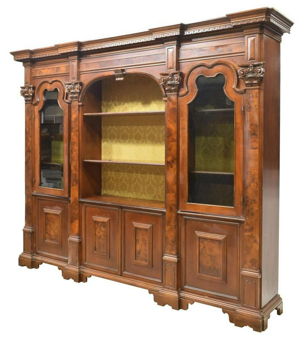 MONUMENTAL ITALIAN WALNUT FINISH BOOKCASE