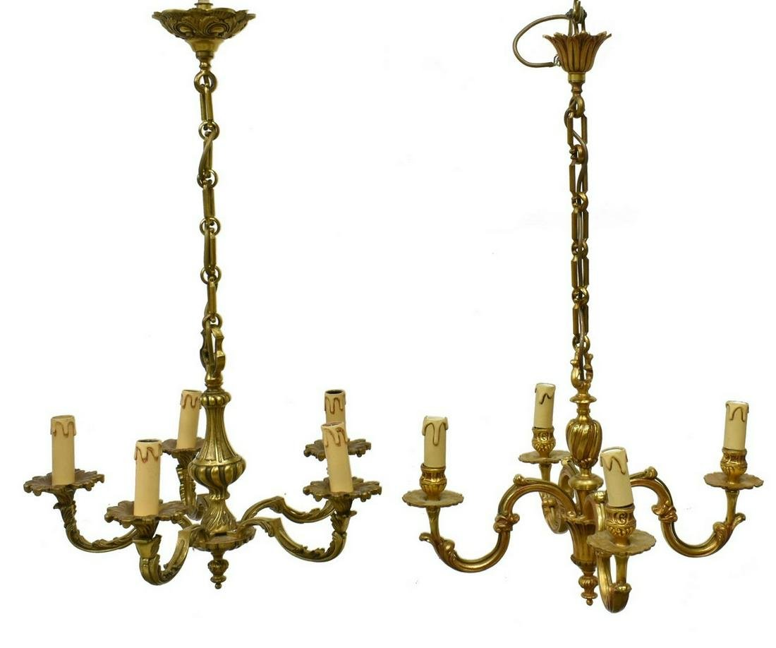 (2) CONTINENTAL GILT METAL CHANDELIERS