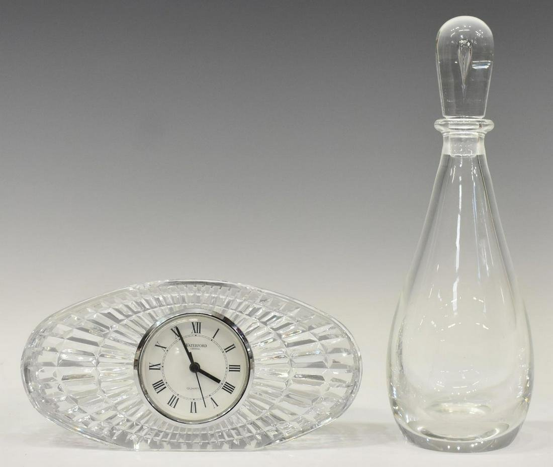 (2) WATERFORD CRYSTAL CLOCK & STEUBEN DECANTER