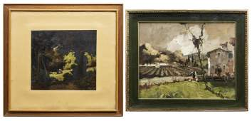 (2) FRAMED DUTCH PASTORAL & FOREST OIL PAINTINGS