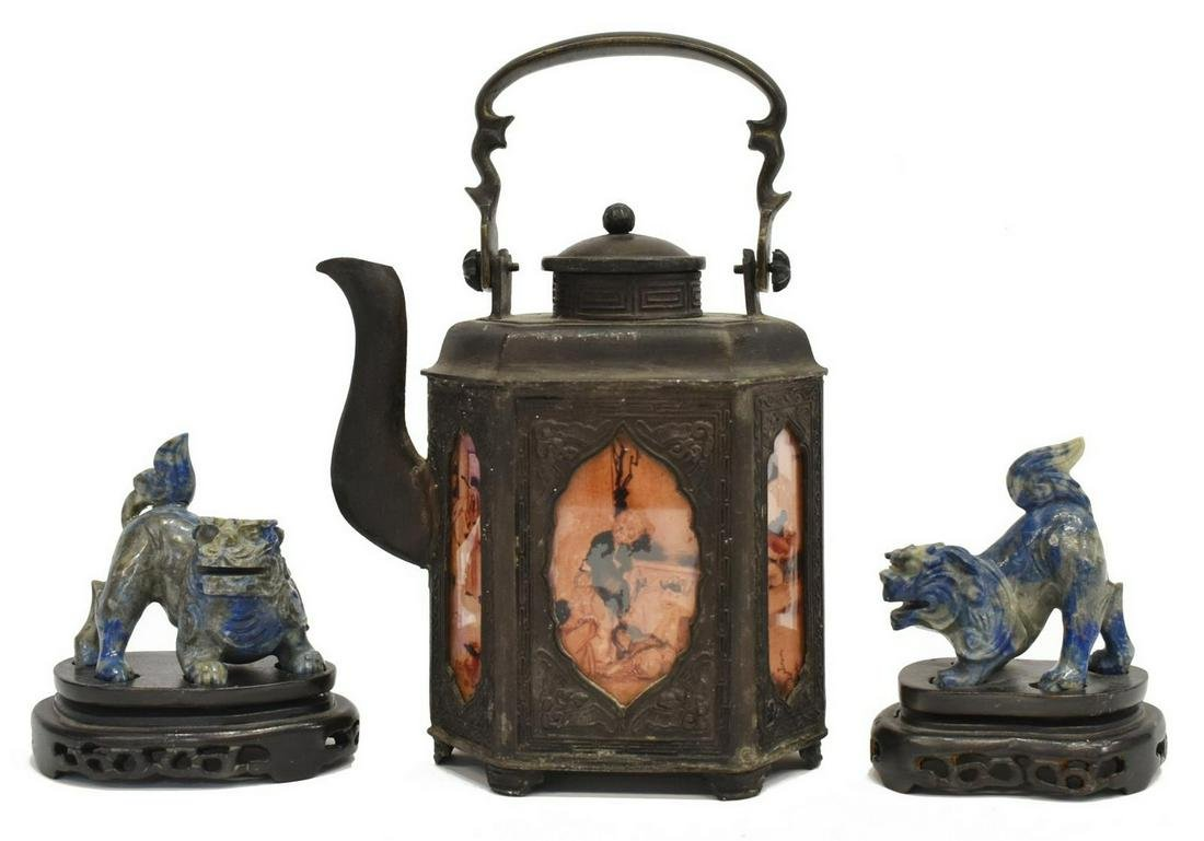(3) CHINESE CARVED LAPIS FOO LIONS & BRONZE TEAPOT