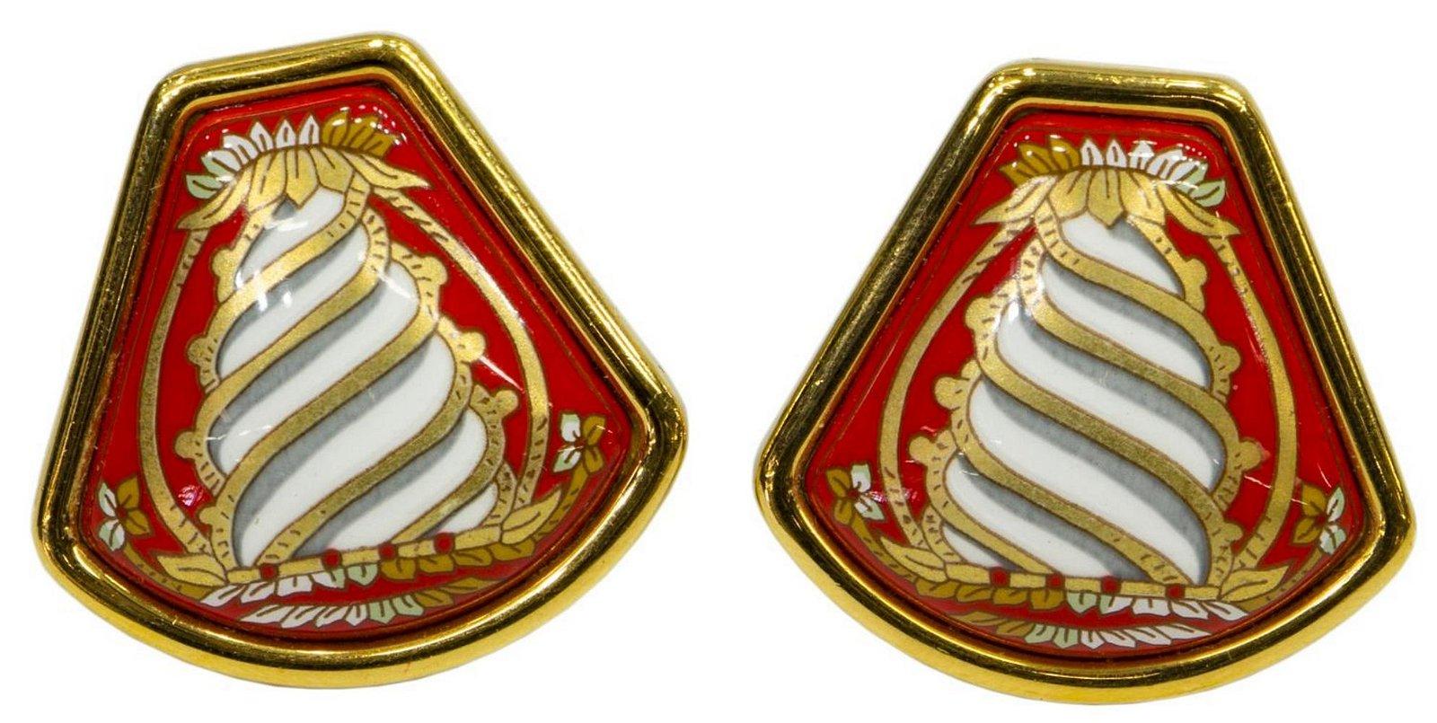 HERMES GOLD-TONE & ENAMEL CLIP-ON EARRINGS W/ BOX