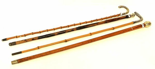 1:  ANTIQUE STERLING TOP BAMBOO WALKING STICKS CANES