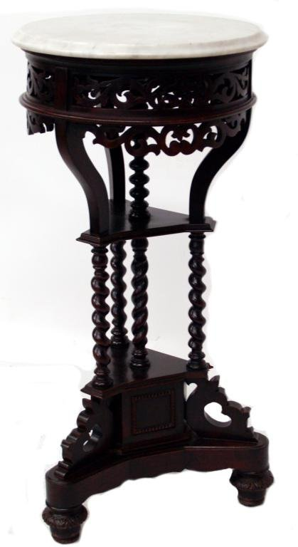 14: ANTIQUE SPAIN MAHOGANY MARBLE TOP CENTER TABLE
