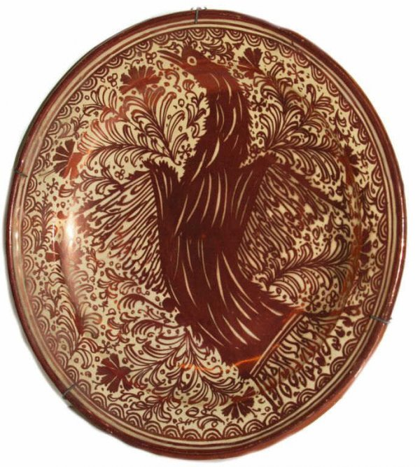 17: ANTIQUE SPAIN MORESQUE COPPER LUSTER CHARGER