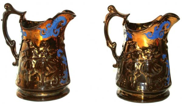 18: ANTIQUE ENGLISH COPPER LUSTER PITCHERS