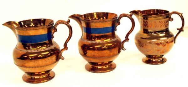 19: ANTIQUE ENGLISH COPPER LUSTER PITCHERS