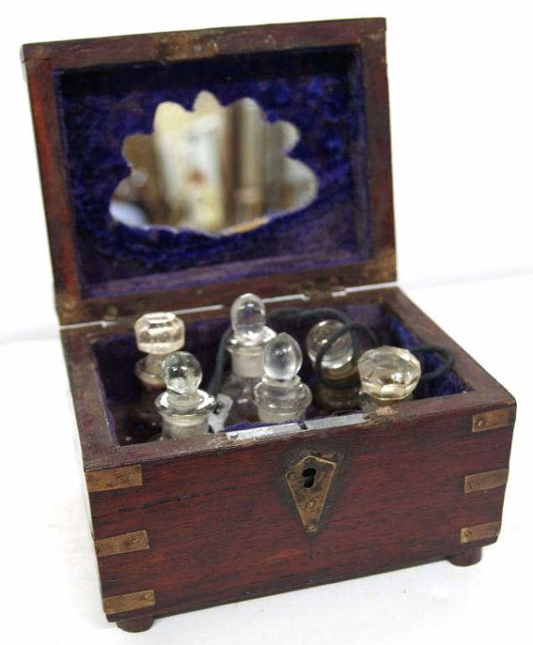 21: ANTIQUE COLONIAL BRASS BOUND ROSEWOOD PERFUME BOX