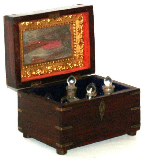 22: ANTIQUE BRITISH COLONIAL BOUND BRASS PERFUME BOX