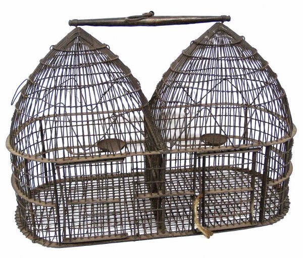 24: ANTIQUE INDIA RUSTIC DOUBLE DOMED BIRD CAGE