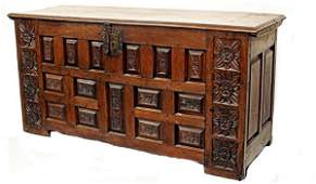 122: ANTIQUE 19TH C SPAIN BAROQUE CARVED COFFER