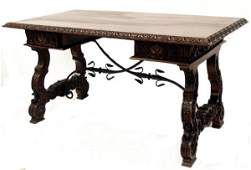 175 ANTIQUE SPAIN RENAISSANCE REVIVAL LIBRARY TABLE