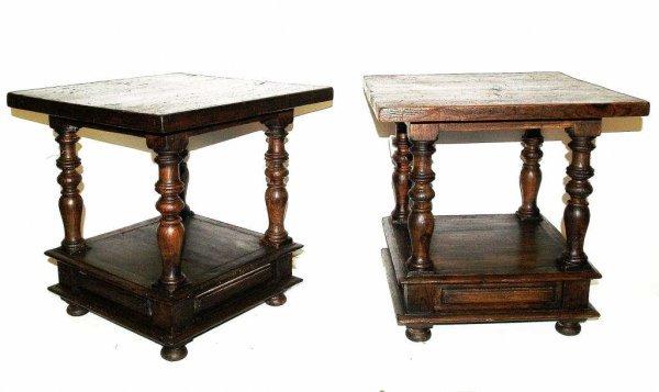 276: PAIR OF SPAIN RUSTIC OAK TWO TIER SIDE TABLES