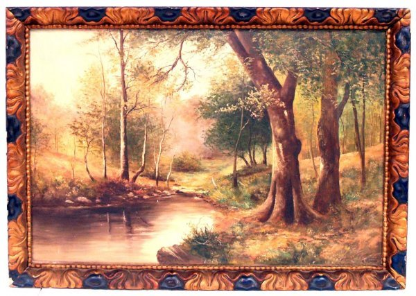 306: ANTIQUE PAINTING, LANDSCAPE RIVERBANK, SPAIN