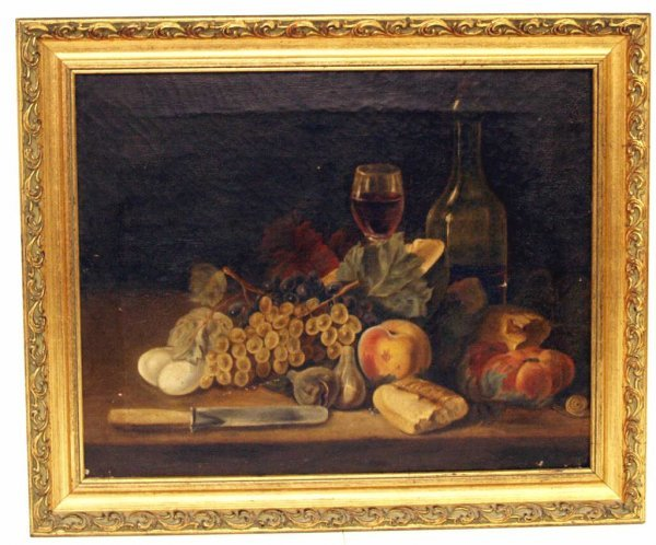 308: ANTIQUE PAINTING, FRUIT STILL LIFE, SPAIN