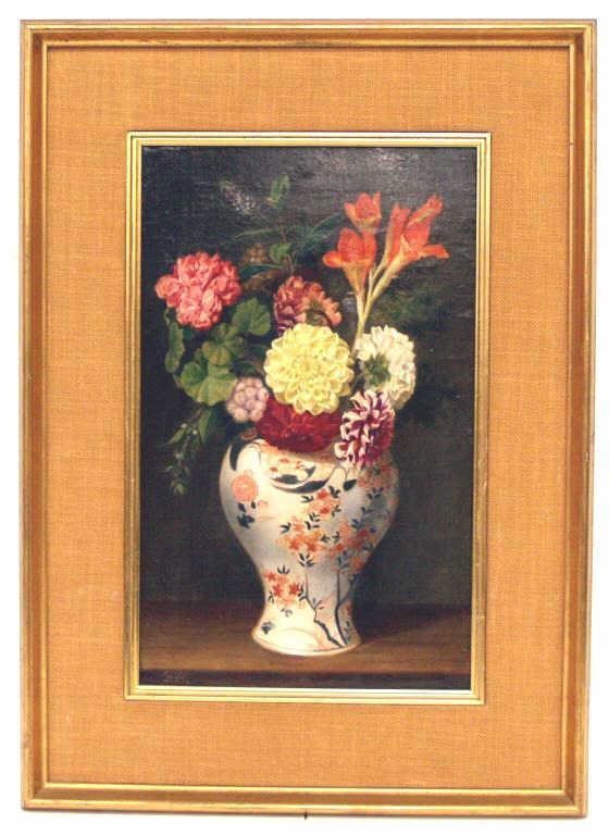 309:ANTIQUE PAINTING, STILL LIFE FLOWERS & VASE, SPAIN