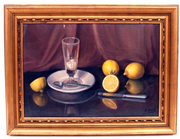 310: PAINTING, LEMON STILL LIFE,  SIGNED A. BOSCH