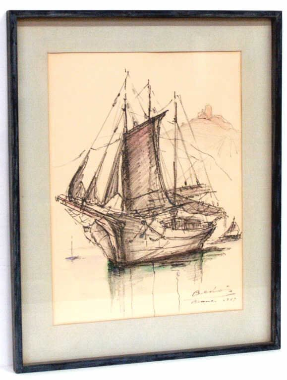 311: MIXED MEDIA ON PAPER, BOAT & LANDSCAPE, SIGNED