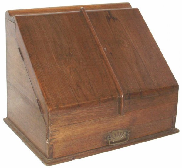 313: ANTIQUE COLONIAL TEAKWOOD SLANT FRONT LETTER BOX