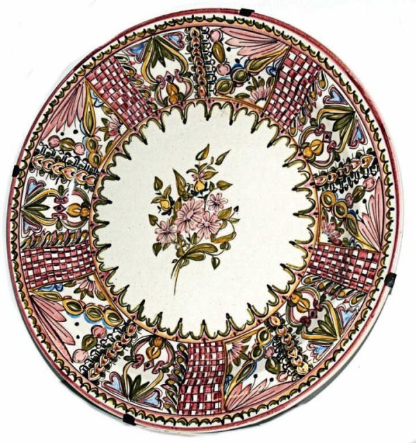 316: LARGE SPAIN CERAMIC FLORAL DECORATED CHARGER
