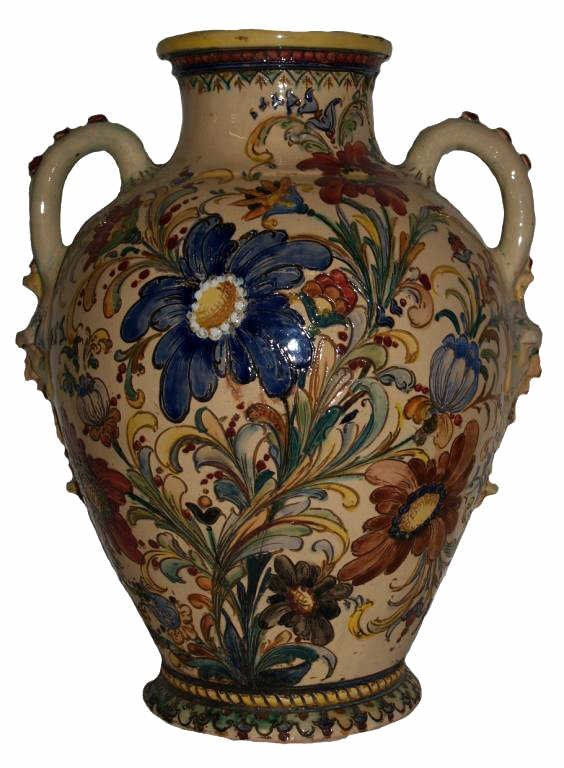 317: ANTIQUE SPAIN CERAMIC MAJOLICA FLORAL VASE
