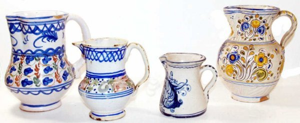 320: COLLECTION ANTIQUE SPANISH TIN GLAZED CERAMIC JUGS