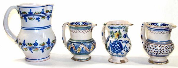 321: COLLECTION OF ANTIQUE SPAIN TIN GLAZE CERAMIC JUGS