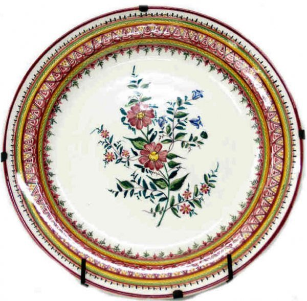 326: LARGE SPAIN CERAMIC FLORAL DECORATED CHARGER