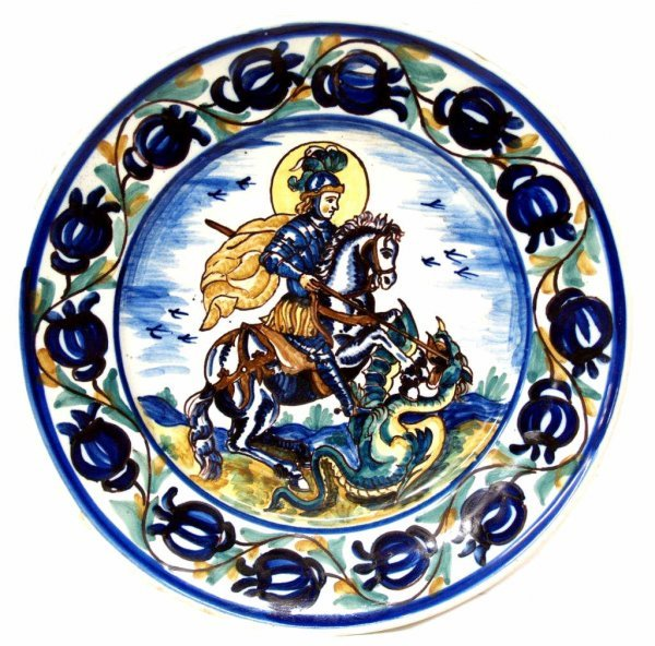 328: SPAIN POLYCHROME CERAMIC ST GEORGE DRAGON PLATE